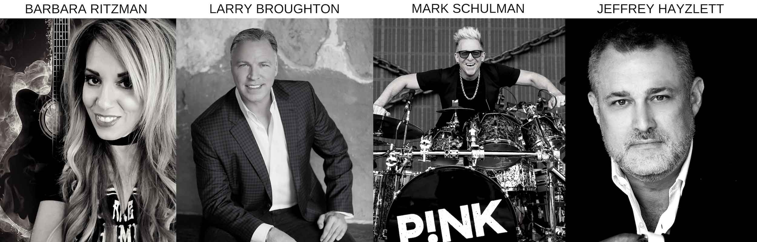 Barbie Ritzman top beauty blogger featured with, with Drummer of P!NK, Mark Schulman, Larry Broughton and Jeffrey Hayzlett